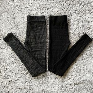 Express Black Silver and Gold Holiday Leggings